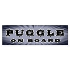 "Bumper Sticker says ""puggle on board"""