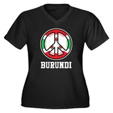 Peace In Burundi Women's Plus Size V-Neck Dark T-S