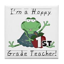 Hoppy 1st Grade Teacher Tile Coaster