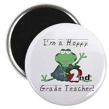 """Hoppy 2nd Grade Teacher 2.25"""" Magnet (100 pack)"""