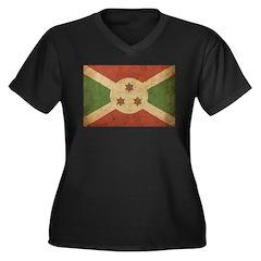 Vintage Burundi Women's Plus Size V-Neck Dark T-Sh