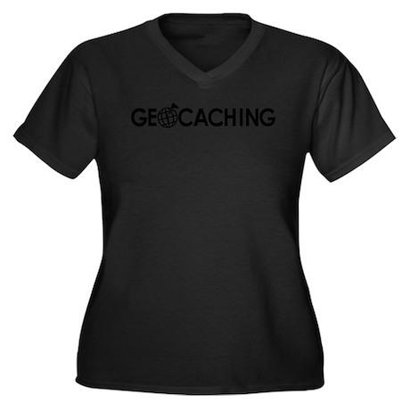 Geocaching Women's Plus Size V-Neck Dark T-Shirt