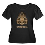 Vintage Cambodia Women's Plus Size Scoop Neck Dark