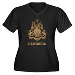 Vintage Cambodia Women's Plus Size V-Neck Dark T-S
