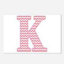 Pink Chevron Letter K Monogram Postcards (Package