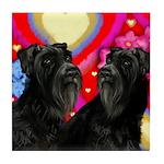 SCHNAUZER DOGS LOVE Tile Coaster