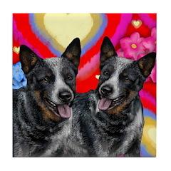 AUSTRALIAN CATTLE DOGS LOVE Tile Coaster