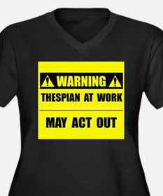 Thespian At Work Women's Plus Size V-Neck Dark T-S
