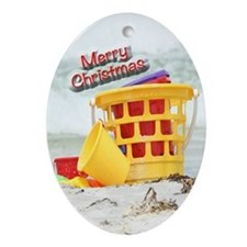 Holiday Christmas Ornament (Oval) of the beach