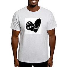 Black Broken Heart Ash Grey T-Shirt