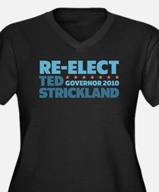 Re-Elect Strickland Women's Plus Size V-Neck Dark