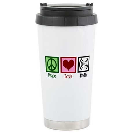 Peace Love Radio Stainless Steel Travel Mug