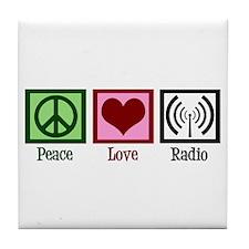Peace Love Radio Tile Coaster