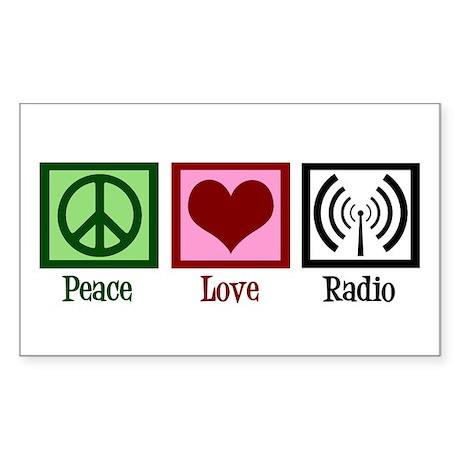 Peace Love Radio Sticker (Rectangle)