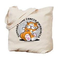 Lung Cancer Cat Tote Bag