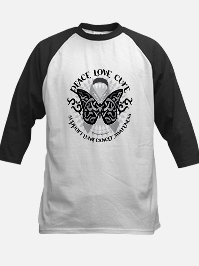 Lung Cancer Butterfly Tribal Kids Baseball Jersey