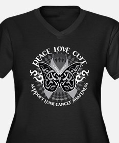 Lung Cancer Butterfly Tribal Women's Plus Size V-N