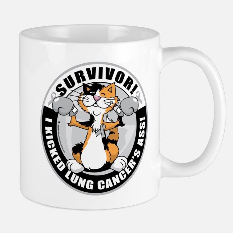 Lung Cancer Cat Survivor Mug