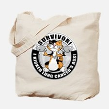 Lung Cancer Cat Survivor Tote Bag