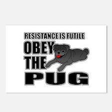 Black Pug Postcards (Package of 8)