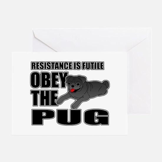 Black Pug Greeting Card