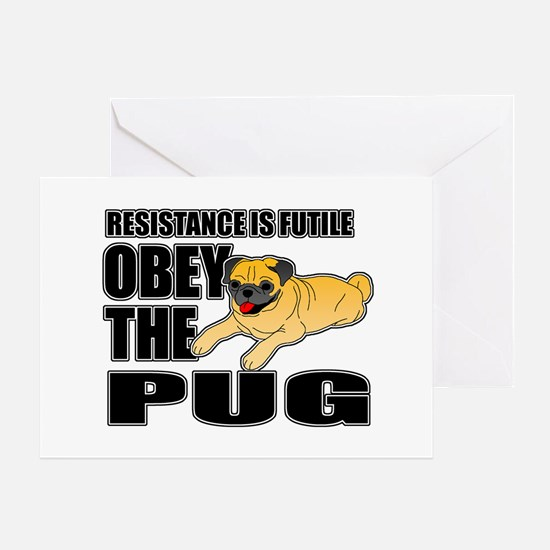Obey The Pug Greeting Card