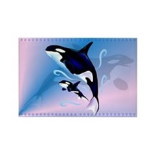 Orca Mom and Baby Rectangle Magnet