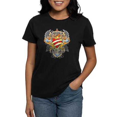 Spina Bifida Cross And Heart Women's Dark T-Shirt
