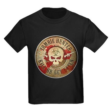 Zombie Hunter Distressed Kids Dark T-Shirt