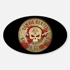 Zombie Hunter Distressed Sticker (Oval)