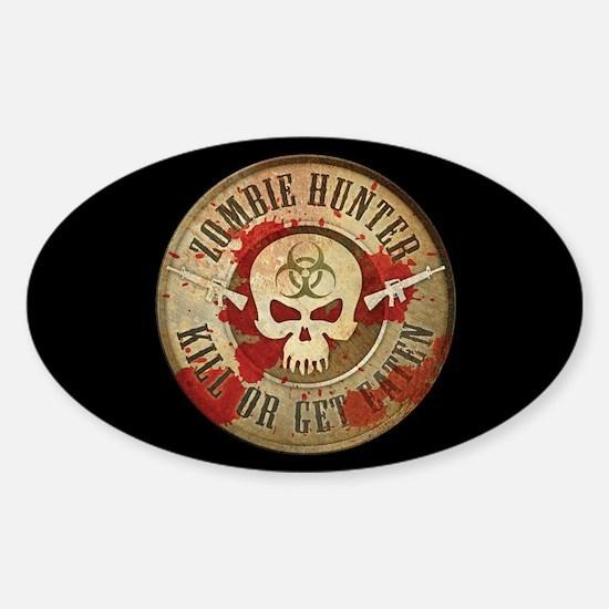 Zombie Hunter Distressed Sticker (Oval)