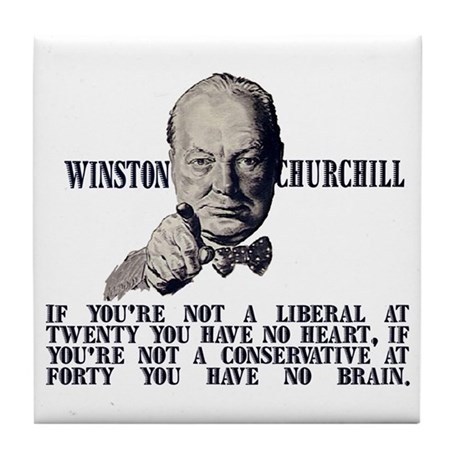 Churchill on Conservatives Tile Coaster