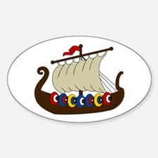 Viking Ship Sticker (Oval)