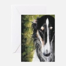 Borzoi by Dawn Secord Greeting Card
