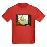 Stained-Glass Sail Kids Dark T-Shirt