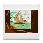 Stained-Glass Sail Tile Coaster