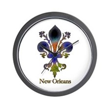 New Orleans colorful Fleur Wall Clock