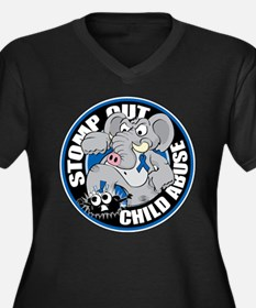 Stomp Out Child Abuse Women's Plus Size V-Neck Dar