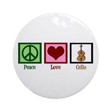 Peace Love Cello Ornament (Round)