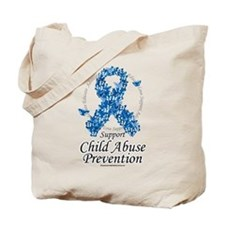 Child Abuse Ribbon Of Butterf Tote Bag
