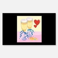 Wine & Wedding Rings Rectangle Decal
