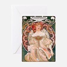 F. Champenois Imprimeur by Mucha Greeting Card