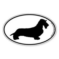 Wirehaired Dachshund SILHOUETTE Oval Bumper Stickers