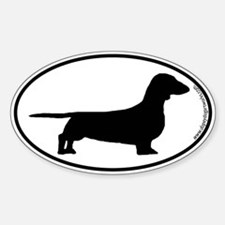 Smooth Dachshund SILHOUETTE Oval Decal