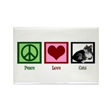 Peace Love Cats Rectangle Magnet