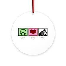 Peace Love Cats Ornament (Round)