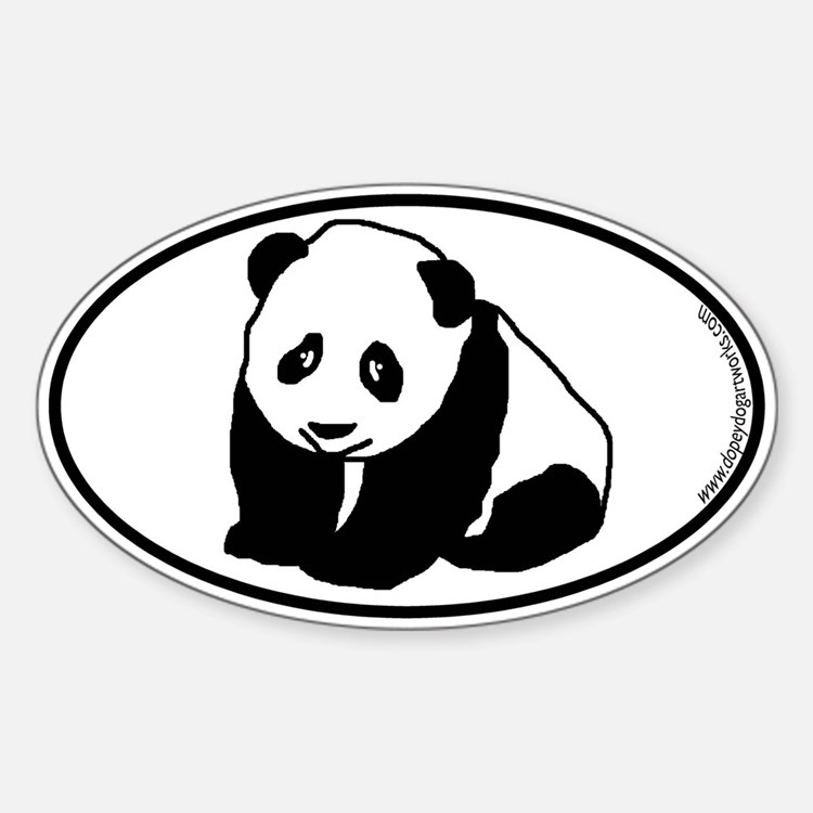 Panda SILHOUETTE Oval Decal