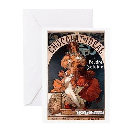 Chocolat Ideal by Mucha Greeting Cards (Pk of 20)
