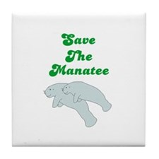 SAVE THE MANATEE Tile Coaster