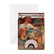 Biscuits Lefevre Utile by Mucha Greeting Card